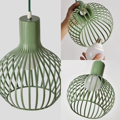 Globe Cage Restaurant Island Pendant Metal 3 Lights Nordic Style Hanging Lamp in Green/Grey/Pink/Yellow