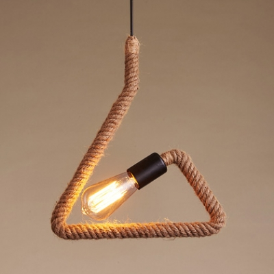 Vintage Beige Pendant Light Round/Square/Triangle 1 Light Rope Hanging Light with Billiard for Bar