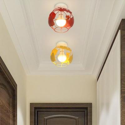 Modern Globe Cage Flush Ceiling Light 1 Light Metal Ceiling Lamp in Blue/Green/Red/Yellow for Bedroom