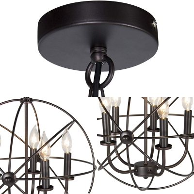 Candle Living Room Chandelier with Globe Cage Metal Five Lights Colonial Style Hanging Light in Black