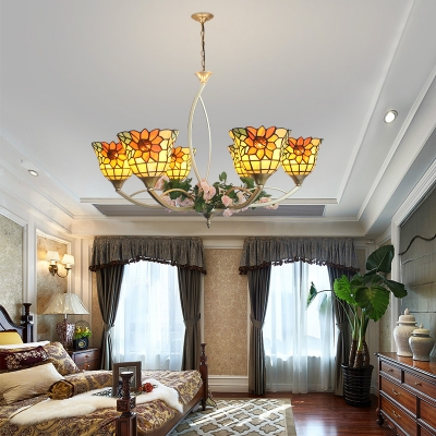 Leaf/Sunflower Hanging Light 6/8 Lights Tiffany Rustic Stained Glass Chandelier for Dining Room