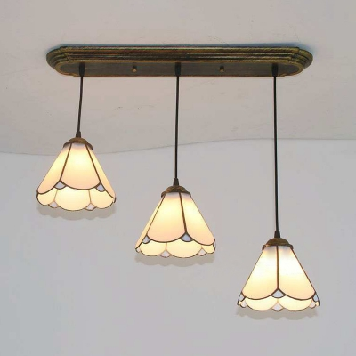 Living Room Conical Shade Pendant Light Glass 3 Heads Tiffany Style Age Brass Hanging Light