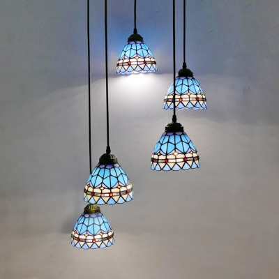 Mediterranean Style Dome Pendant Light 5 Lights Stained Glass Hanging Light in Blue for Bedroom