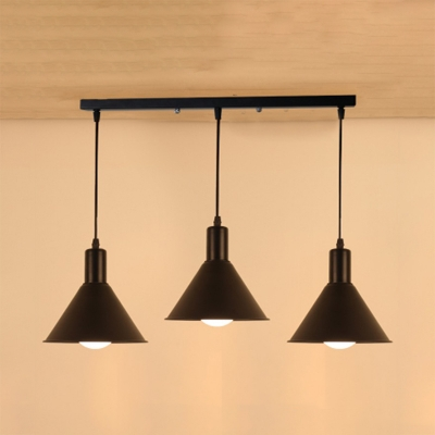 Metal Conical Shade Pendant Light 3 Lights Antique Style Hanging Lamp