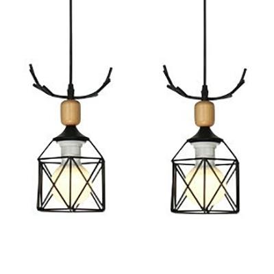 Metal Deer Horn Hanging Light Shop Restaurant 2 Lights Contemporary Ceiling Light in Black