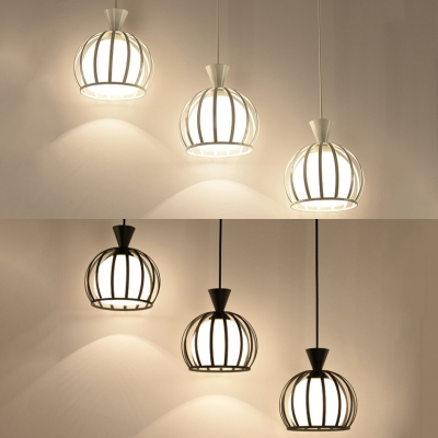 Metal Melon Cage Ceiling Lighting 3 Lights Industrial Pendant Light in Black/White for Dining Room, HL527120