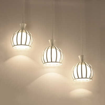 Metal Melon Cage Ceiling Lighting 3 Lights Industrial Pendant Light in Black/White for Dining Room