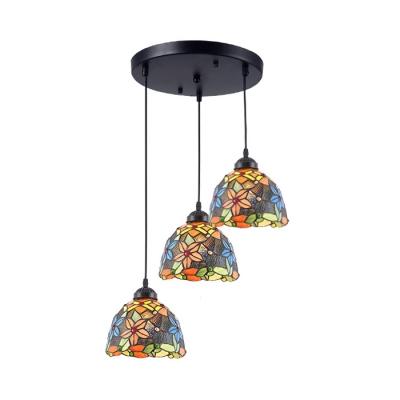 Metal Round Canopy Pendant Light Dining Table 3 Lights Tiffany Rustic Suspension Light