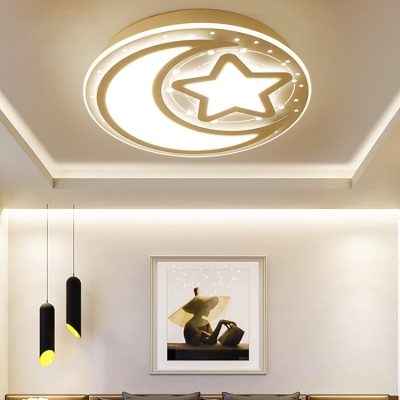 Nordic Style White Ceiling Mount Light Star Mood Metal LED Flush Light in Warm for Study Room