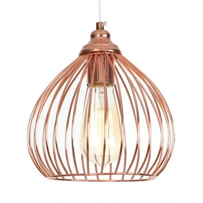 Onion Kitchen Suspension Light With Wire Frame Metal 1 Light Rustic Ceiling Light In Rose Gold Beautifulhalo Com