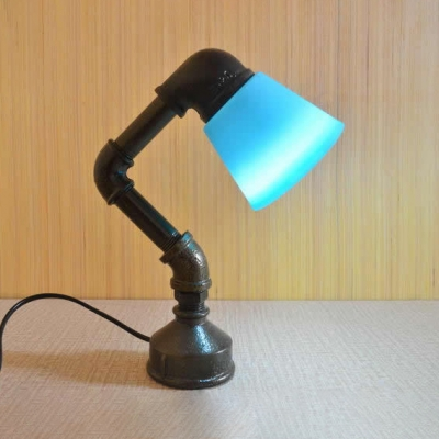 Plastic Bucket Shade Desk Light Study Room 1 Head Vintage Plug In Reading Light with Water Pipe