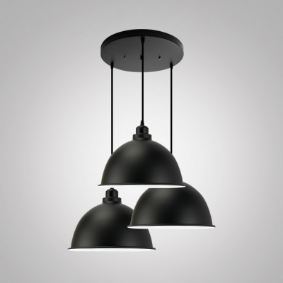 Baycheer / Restaurant Cafe Dome Shade Ceiling Pendant Metal 3 Lights Antique Style Black Hanging Light