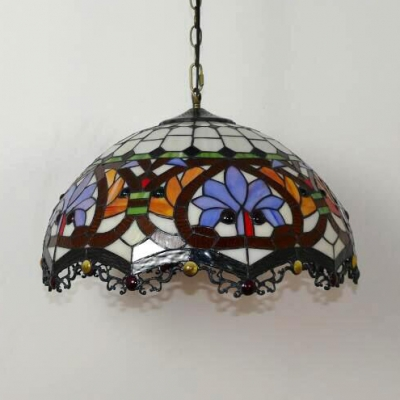 Restaurant Lotus Pendant Light Stained Glass 19.5 Inch 2 Lights Tiffany Style Suspension Light