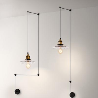 Restaurant Scalloped Edge Pendant Light Clear Glass 1 Light Antique Stylish Brass Hanging Light