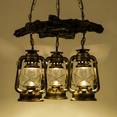 Rustic Aged Brass/Copper Chandelier with Branch 3 Lights Glass Kerosene Hanging Light for Bar Cafe