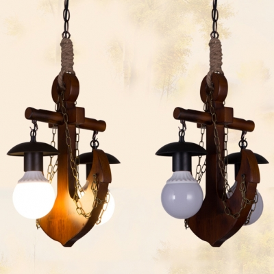 Rustic Style Anchor Pendant Light Wood 2 Lights Brown Chandelier for Dining Table Hallway