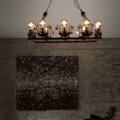 Rustic Style Open Bulb Chandelier 10 Lights Metal Ceiling Light in Rust for Bar Restaurant