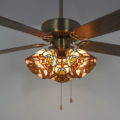 Stained Gl Bell Led Ceiling Fan