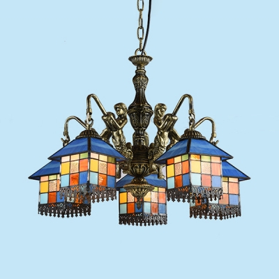 Stained Glass House Pendant Lamp with Mermaid 5 Lights Tiffany Style Antique Chandelier for Restaurant