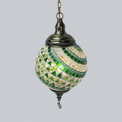 Stained Glass Spherical Ceiling Lamp 1 Light Moroccan Hanging Light for Bedroom Pack of 1/4(Random Color Delivery)