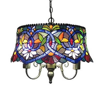 Tiffany Rustic Blue Pendant Light Drum Shade 18 Inch Stained Glass Ceiling Light for Restaurant