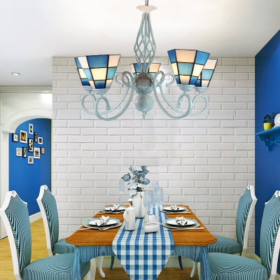 Tiffany Style Nautical Blue Chandelier Cone Shade 5 Lights Art Glass Hanging Light for Restaurant