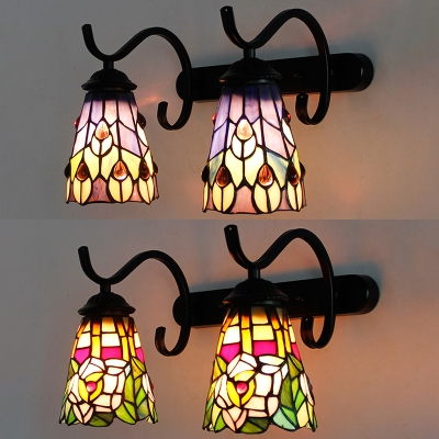 Tiffany Style Sconce Light With Flower Peacock Tail 2 Lights Stained