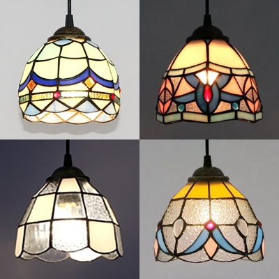 Tiffany Style Suspension Light Bowl Shade Single Light Stained Glass Ceiling Light for Hallway