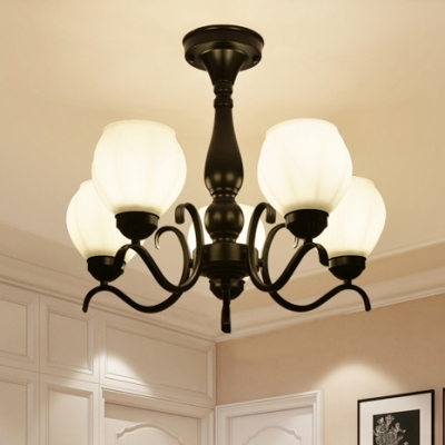 Traditional Globe Semi Flush Ceiling Light Frosted Glass 3/5/6/8 Lights Black Ceiling Lamp for Living Room