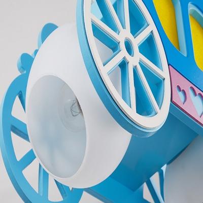 Wood Carriage Doll Pendant Light Shop Girl Bedroom Lovely LED Ceiling Light in Blue