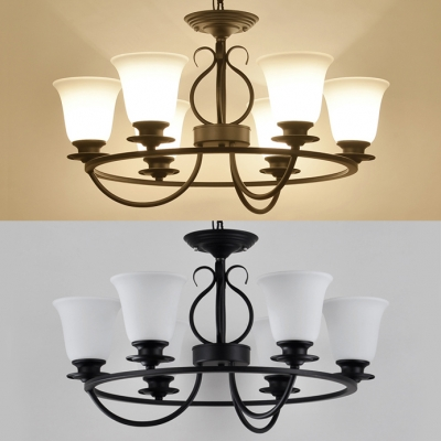 3/6/8 Lights Bell Chandelier Vintage Style Frosted Glass Suspension Light in Black for Balcony