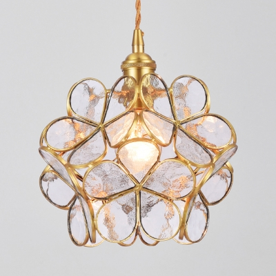 Luxurious Blossom Shape Pendant Lamp Blue/Clear/Pink Hanging Light for Restaurant Balcony