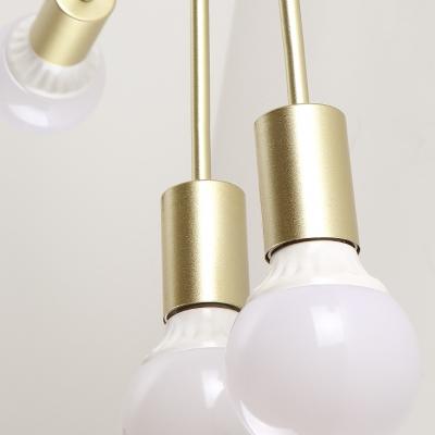 Black/Gold/White Snowflake Semi Flushmount Light 6/8 Bulbs Contemporary Metal Ceiling Lamp for Living Room