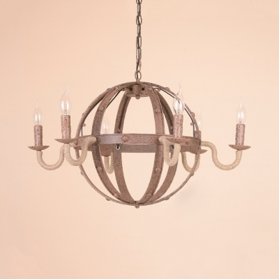 6 Lights Globe Suspension Light with Candle Vintage Style Metal Chandelier in Rust for Cottage