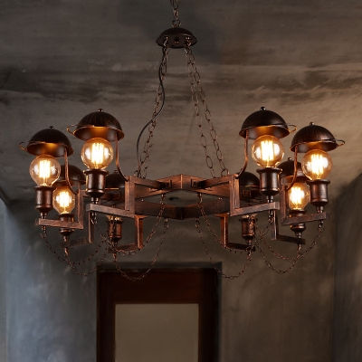 8 Lights Edison Bulb Ceiling Pendant Industrial Metal Chandelier in Rust for Restaurant Cafe
