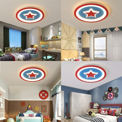 Acrylic Red Star Ceiling Mount Light Creative LED Ceiling Fixture in Warm/White for Kid Bedroom