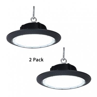 Aluminum Slim UFO Bay Lighting 1/2 Pack Commercial LED Hanging Lamp in Black for Showroom