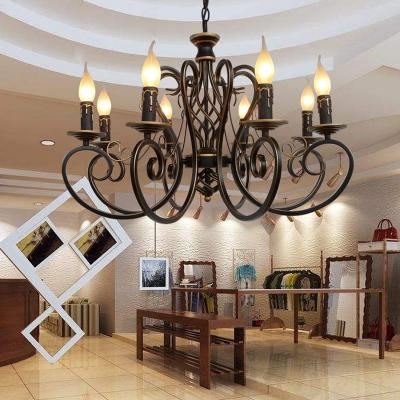 Antique Flameless Candle Chandelier Metal 6/8 Lights Black Suspension Light for Living Room