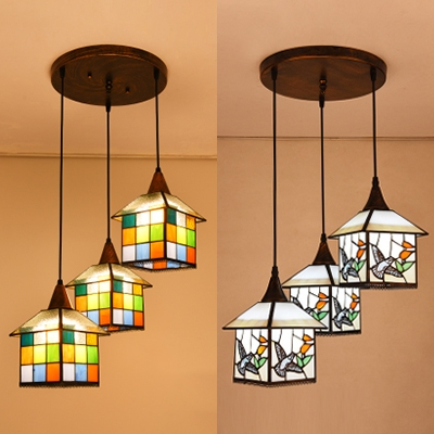 online store 57cec 2dfe0 Bird/Grid House Restaurant Hanging Lamp Stained Glass 3 Lights Tiffany