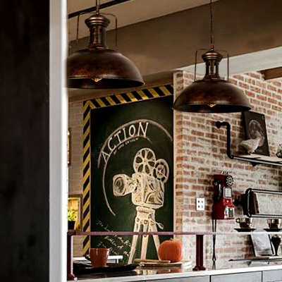 Cafe Domed Shade Pendant Light Metal One Head Antique Stylish Aged Brass/Rust Hanging Lamp