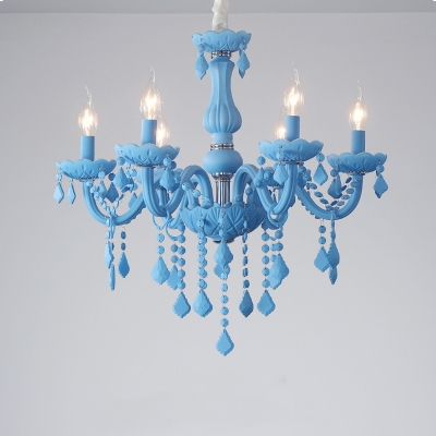 Candle Girl Bedroom Pendant Light Glass 6 Lights Macaron Chandelier in Blue/Green/Pink