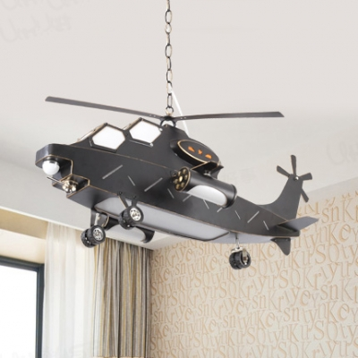 Contemporary Cool Black Pendant Light Helicopter Metal Hanging Light in Warm/White for Child Bedroom