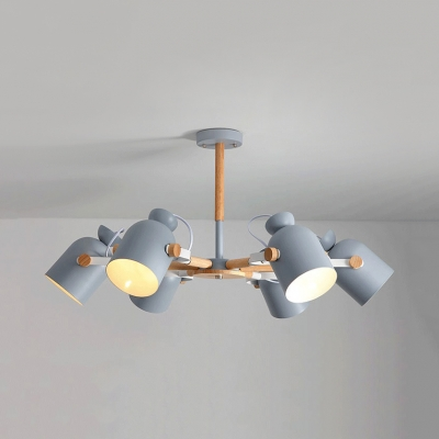 Contemporary Cup Shade Chandelier Wood 6 Lights Gray/Green Rotatable Pendant Light for Kid Bedroom