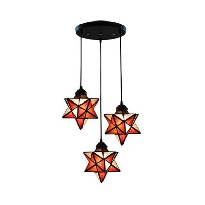 Creative Handmade Star Pendant Light 3 Lights Glass Linear/Round Canopy Ceiling Light for Bedroom