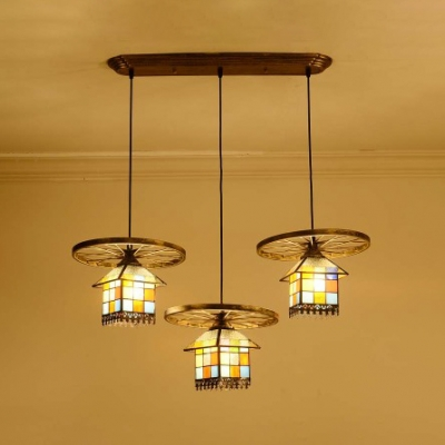 Creative House Shape Pendant Lamp with Wheel Decoration 3 Heads Stained Glass Hanging Light for Cafe HL534402 фото
