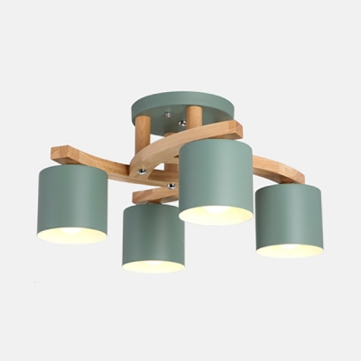 Cylinder Dining Room Ceiling Light Metal 4 Lights Nordic Style Semi