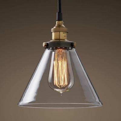Dining Table Cone Shade Pendant Lamp Clear Glass 3 Heads Industrial Black Finish Ceiling Pendant