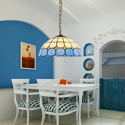 Dining Table Dome Shade Pendant Light Glass 1 Light Mediterranean Style Blue Ceiling Light