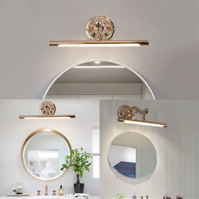 Elegant Style Linear Wall Light Rotatable Waterproof Metal LED Vanity Light in Neutral for Gallery