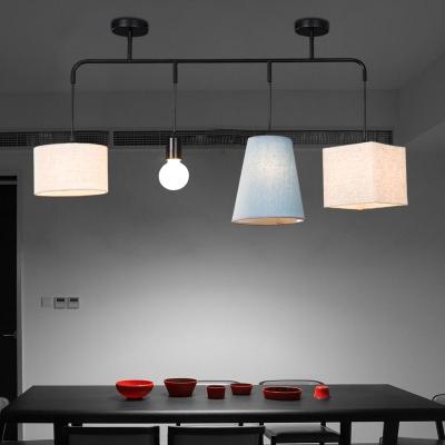 Fabric Drum/Square/Drum Ceiling Light 4 Lights Contemporary Pendant Lamp in Black for Restaurant